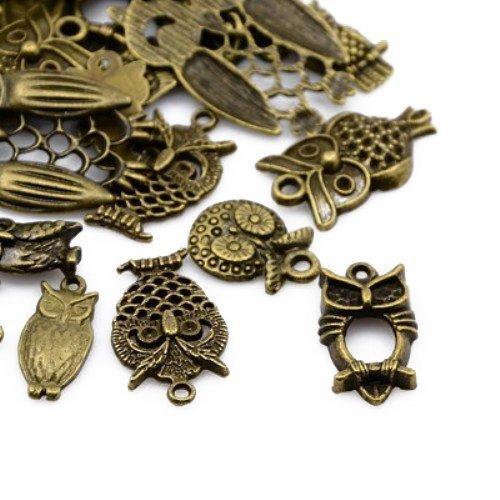 Paket 30 Gramm Antik Bronze Tibetanische ZufälligeMischung Charms (Eule) - (HA07465) - Charming Beads