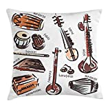 Tampura Throw Pillow Cushion Cover by, Orchestra Retro Sitar and Tabla Middle Eastern Western Harmonium African Mrdanga, Decorative Square Accent Pillow Case, 18 X 18 inches, Multicolor
