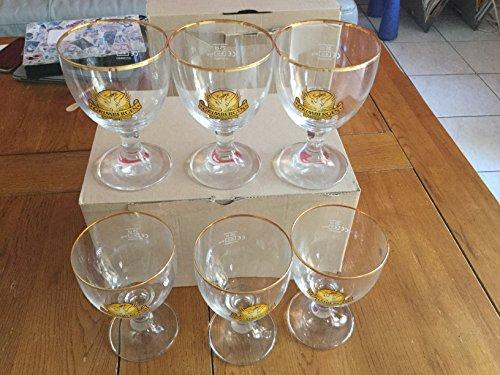 6er-Set Biergläser Grimbergen mit vergoldetem Rand 25cl Neu