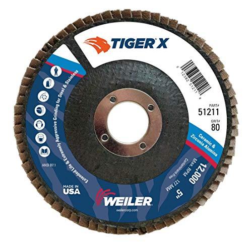 Weiler 51211 Tiger X Flap Disc, Ceramic and Zirconia Alumina, Angled, Phenolic Backing, 80 Grit, 5