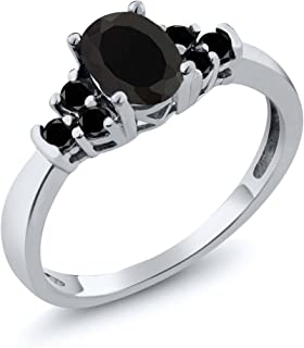 Sterling Silver Oval Black Onyx & Black Diamond Women's Bridal Wedding Ring 0.59 cttw (Available 5,6,7,8,9)