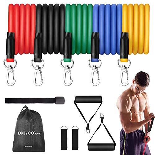 DMYCO Resistance Bands Set - Stackable Exercise Bands Up to 150 Lbs with Door Anchor, Handles, Waterproof Carry Bag and Legs Ankle Straps for Resistance Training, Physical Therapy, Home Workouts