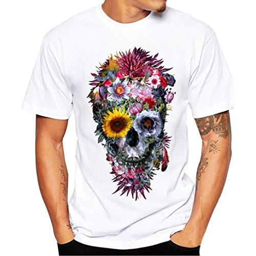 Homebaby® T-Shirt Uomo Vintage Cranio Stampa - Camicia Uomo Elegante Maglietta Manica Corta - Tshirt Stretch Maglione Cotone Uomo Tumblr Estiva Particolari Magliette Corte (L, Bianco)