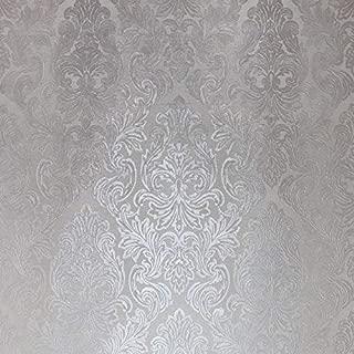 QUADRUPLE ROLL 113.52sq.ft (4 single rolls size) Slavyanski wallcovering washable victorian pattern Vinyl Non-Woven Wallpaper silver ivory white gray textured stripe wall glitters metallic 3D damask