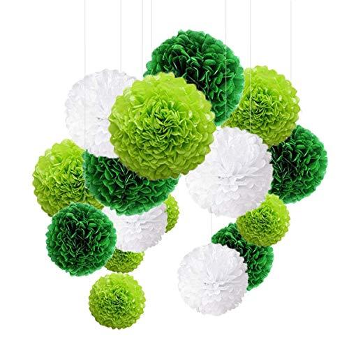 Juego de 24 pompones decorativos de papel de seda de colores para bodas, cumpleaños, fiestas, Contiene verde claro verde blanco