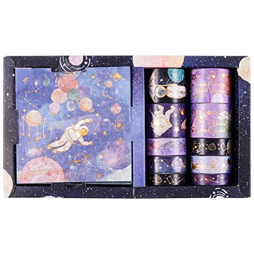 Heyu-Lotus Washi Tape Geschenkbox Set, Kreative Klebebänder Dekorative Washi Masking Tapes für DIY Kunsthandwerk Scrapbooking(Weben von Träumen in den Sternen)