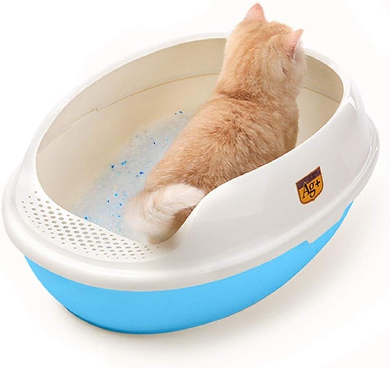 BEITAI New Durable Cat's Litter Box Plastic Outdoor Pet Toilet Outdoor Portable Pets Sand Basin Kitten Training Bedpan Health Supplies (color   bluee)