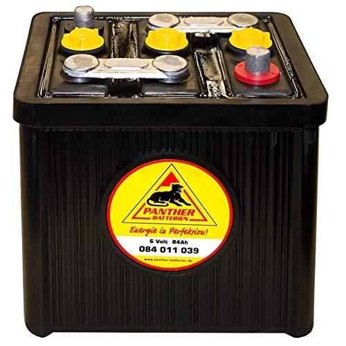 Panther Oldtimer-Batterie 6V 84Ah Autobatterie 08411 Starterbatterie Hartgummi
