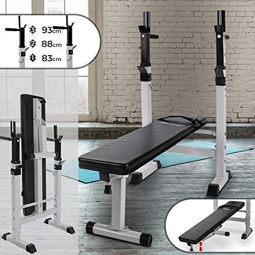 Physionics Banc de Musculation avec Support de Barres - Pliable & Réglable, Charge Totale Max. 200kg, Dimensions (L/l/H) : env....