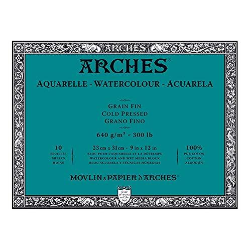 Block mit 10 Aquarellblättern (4 Seiten) 23 x 31 640 g/m², feine Körnung, naturweiß