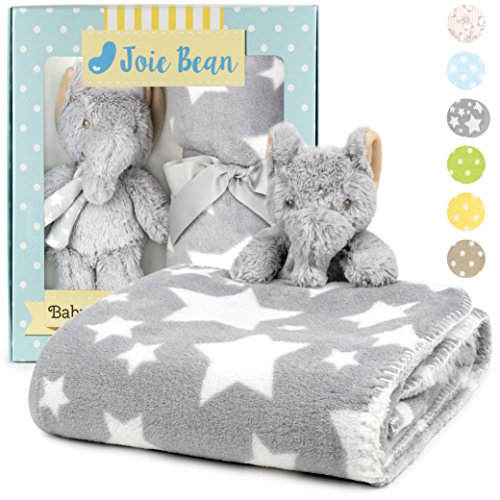 Premium Baby Blanket Set with Stuffed Animal Plush Toy | Soft Fleece Security Throw Blanket for Baby, Newborn, and Toddler | Nursery Bedding and Baby Shower Gift (Grey - Elephant)