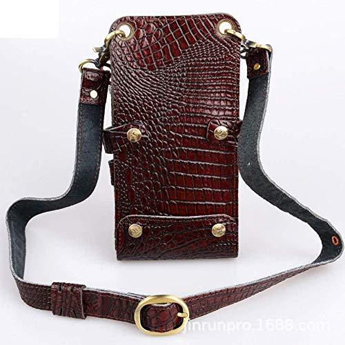 Nfudishpu Hair Salon Tool Bag Professional Hairstylist Holster Pouch Crocodile Leather Cisors Comb stying Tools (Couleur: Brun)