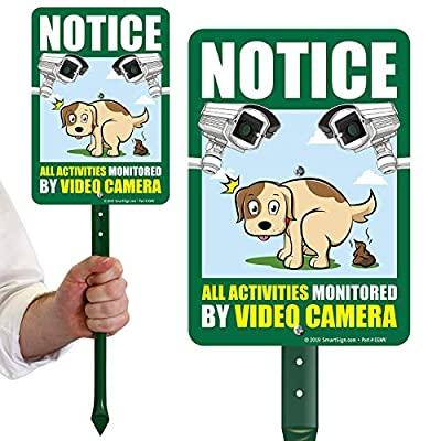 """SmartSign Dog Poop Sign for Yard, Notice All Activities Monitored by Video Camera Sign for Lawn 
