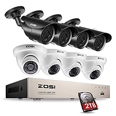 ZOSI 8CH 1080P Security Camera System Outdoor with 2TB Hard Drive,8 Channel 1080P HD Wired DVR, 8pcs 1080P 1920TVL Home Surveillance Weatherproof Cameras Night Vision Remote Access Motion Alert