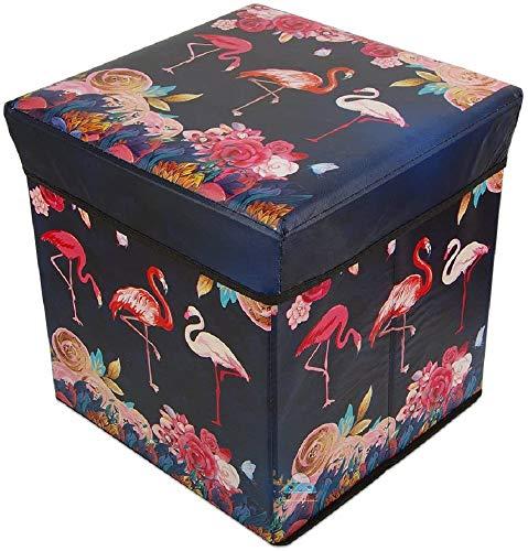FunBlast Flamingo Multi-Functional Folding Storage Ottoman Box Organizer Cum Stool with Seat Cushion, Storage Boxes for Toys for Kids