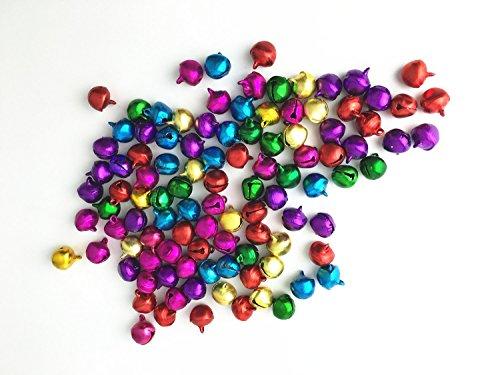 Wonque - Campanas decorativas de aleación para manualidades (100 unidades), diseño de cascabeles de Navidad,...
