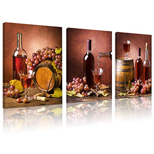 FUNHUA Wine Buckets and Grapes Art Prints and Posters for Living Room Kitchen Bar Wall Decor Wine and Wine Cups Canvas Painting with Wooden Frame 12x16inchx3pcs