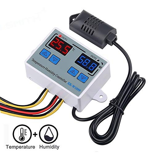 KEECARLY W1099 Digital-Temperatur-Feuchtigkeits-Controller Home Kühlschrank Thermostat DC12V Direktausgabe Thermometer Hygrometer Controll (Color : DC 12V)
