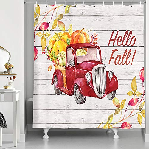 Fall Thanksgiving Shower Curtain, Autumn Farmhouse Style Red Truck with Pumpkins Maple Leaf for Happy Thanksgiving Shower Curtain, Rustic Wooden Cute Bathroom Fabric Shower Curtains Set, 69X70inches