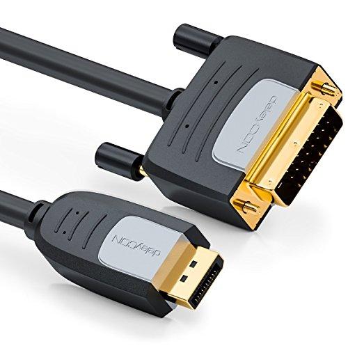 deleyCON 3,0m DisplayPort zu DVI Kabel - Max. 1920x1200 @60Hz - Full HD 1080p 3D HDCP EDID - DP Stecker auf DVI-D (Single Link) Stecker - Mac PC Notebook Monitor Beamer Grafikkarte