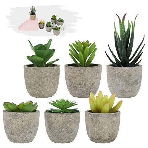 WHATWEARS Piccole piante grasse artificiali in vaso, confezione da 6 piante succulente finte Mini piante artificiali succulente Piante piccole con vasi grigi per la decorazione dell'ufficio domestico