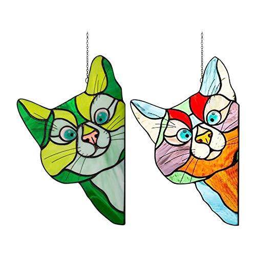 Waroomss Sun Catcher For Window - Katze Glasmalerei Sun Catcher Suncatcher Gebeizt Glas Katze Onnenfänger Garten Kätzchen Fenster Hängen Sonnenfänger, Katzengeschenke Für Katzenliebhaber