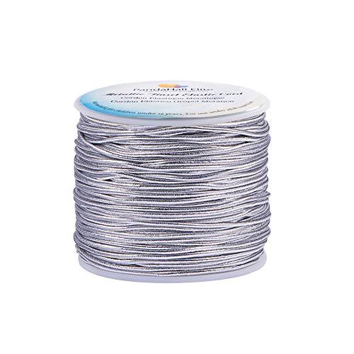 PH PandaHall 2mm 50m/ 54 Yards Metallic Tinsel Elastic Cord Polyester Ribbon Stretch Cord for Jewelry Making Christmas Wrap Ribbon, Silver