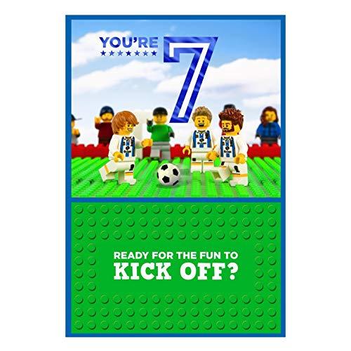 Tarjeta de cumpleaños 7th Lego Iconics con diseño de fútbol