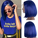 Royal Blue Bob Wigs Human Hair Lace Front Wigs Pre Plucked 13×4 lace frontal Bob swiss Lace Wig Middle Part Straight 10inch Frontal Short Bob 180% Density for Women
