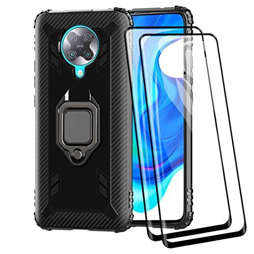 TANYO Hülle + [2 Stück] Bildschirmschutzfolie für Xiaomi Poco F2 Pro/Pocophone F2 Pro 5G, Tough Rugged Armor Stoßfest Handy Schutz Fall mit 9H Festigkeit Panzerglas Schwarz