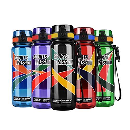 UZSPACE Trinkflasche - Tritan Wasserflasche -1.5L/ 1.2 L/800/500ml-BPA-frei - Ideale Sportflasche - Schnelle Wasserdurchfluss, Flip Top, öffnet Sich mit 20-Click - Schule, Sport, Wasser, Fahrrad