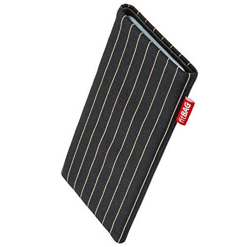 fitBAG Twist Schwarz Handytasche Tasche aus Nadelstreifen-Stoff mit Microfaserinnenfutter für Switel eSmart E2 | Hülle mit Reinigungsfunktion | Made in Germany