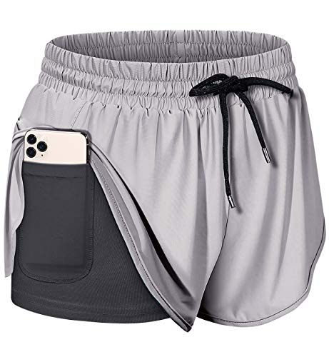 BLEVONH Shorts for Women Plus Size,High Waist Lighter Weight Running Sport Short Womens Over-Sized Fashion Cool Feeling Powerlifting Work Out Running Short Pants with Pickleball Shirts Gray 2XL