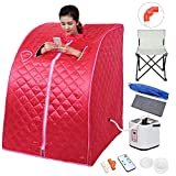 ZeHuoGe Red Portable Steam Sauna Kit SPA Detox 9-Level Temperature Adjustment 6-Level Time Setting 2L Steamer Digital Display Remote 220LBS Capacity of Chair US Delivery (Red)