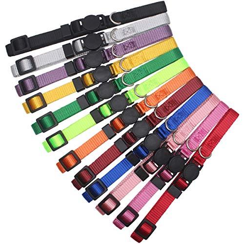 HOLLIHI 12 Stück / Set weiche Nylon-Welpenhalsbänder – verstellbare Hundehalsbänder mit Abreißverschluss, für Hunde und Hunde mit Aufzeichnungstabelle, Halsumfang 17,8 cm – 26 cm