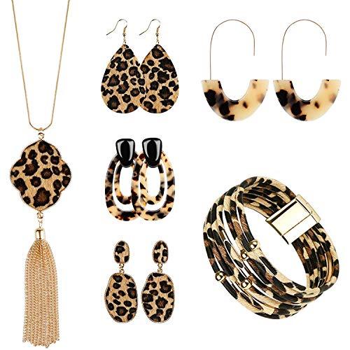 Haude 6 Piezas Conjunto de Joyas de Leopardo Pendientes con Estampado de Leopardo Pulsera Collar de Borla para Mujer, Pulsera con Estampado de Leopardo para Mujer Moda para NiiAs