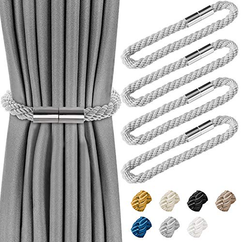 4 Pcs Magnetic Curtain Tiebacks, Decorative Drapes Weave European Style, Window Tie Backs Holders for Home Office Decorative Holdbacks Classic Tiebacks