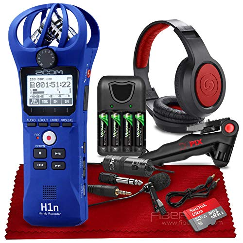 Zoom H1n 2-Input / 2-Track Portable Handy Recorder with Onboard X/Y Microphone (Blue) + Xpix Professional Lavalier Microphone, Stereo Headphones, 32GB SD Card, AAA Batteries & Charger & Accessories
