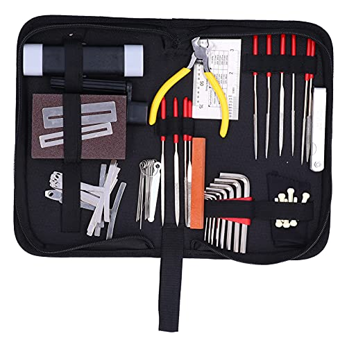 Herramientas de reparación de guitarras, kit de herramientas de mantenimiento de guitarras Dura para mantener y reparar instrumentos de cuerda
