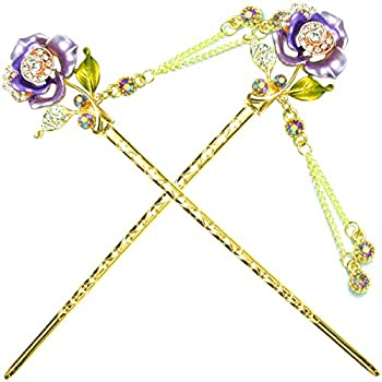 YOY Fashion Hair Decor Chinese Traditional Style Hair Sticks Shawl Pins Picks Pics Forks for Women Girls Hair Accessory 6-inch with Enamel Flower Set of 2 Purple