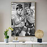Chihie Marilyn Monroe Audrey Hepburn Tattoo Smoking Art Painting Silk Canvas Poster Wall Home Decor 60cm x90cm Sin Marco