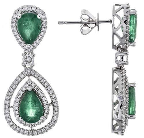 Gin & Grace 14K oro blanco natural Esmeralda Diamante (I1, I2) Pendiente de la Mujer