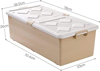 PPCP Bed Bottom Storage Box Plastic Flat Ultra-Thin Drawer Storage Box (Color : Brown)