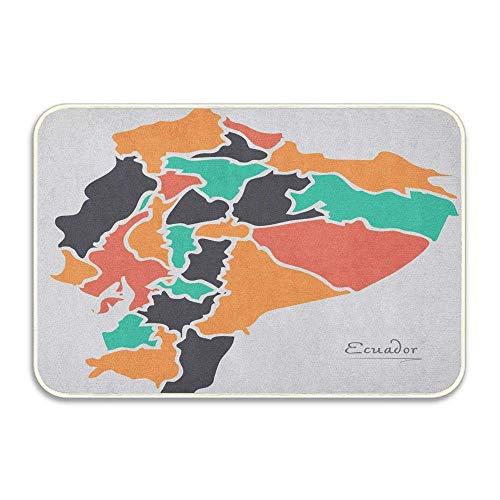 Mapa político colorido con ciudades cartográficas Felpudo con estampado de forma redonda modernista, felpudo de franela suave para la puerta de entrada al hogar, alfombras decorativas para interiores