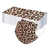 JSxhisxnuid [50 Stück] Damen Herren Mundschutz mit Motiv Einweg Mund und Nasenschutz Leoparden Muster 3-lagig Atmungsaktiv Mund-Tuch Bandana Halstuch Schals