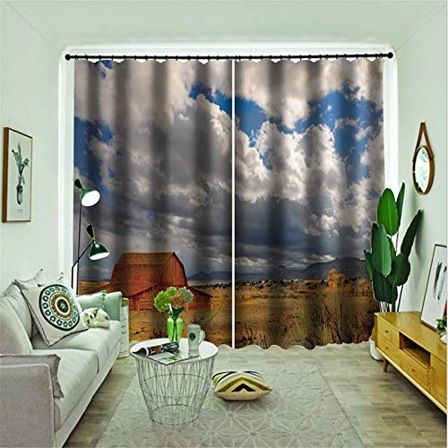 FACWAWF Página De Inicio Imagen De Paisaje 3D Tela De Poliéster Dormitorio Sala De Estar Cortina para Sala De Estudio 184x160cm(2pcs)