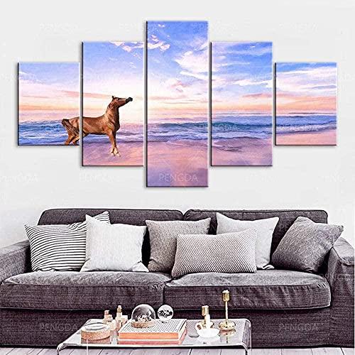 NC89 Lienzo de Animal de Caballo de mar púrpura, Impresiones en HD, 5 Paneles, Pinturas, Cuadros modulares Abstractos, póster artístico de Pared, Obra de Arte