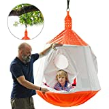 HAPPYPIE Hanging Tree Tent for Kids Indoor and Outdoor Waterproof Tree Hammock Tent Includes LED Lights and Swing Set Accessories,Max Capacity 330 lbs-Orange