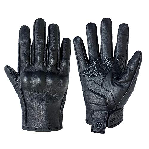 Motorcycle Gloves Women Touchscreen Armored Motorbike Gloves for Ladies(Black Leather,Non-Perforated, S)