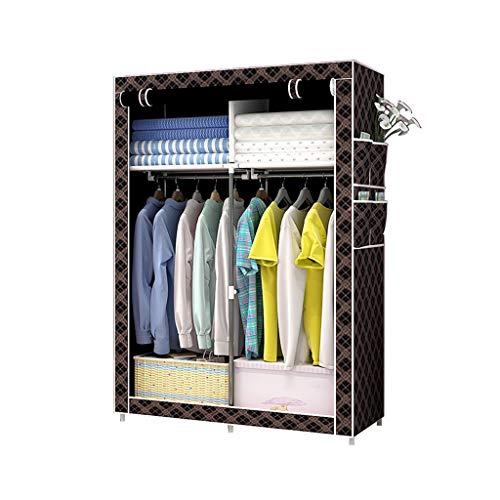 Kleiderschrank, Stoff, Leinen, faltbar, mit Seitentaschen, 105 x 45 x 170 cm B